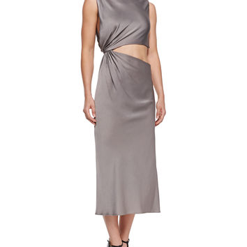 Open-Back Crepe Midi Dress, Size:
