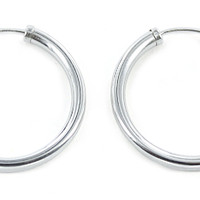 Sterling Silver Endless Wire Hoop Earrings, All Sizes (3mm Tube)