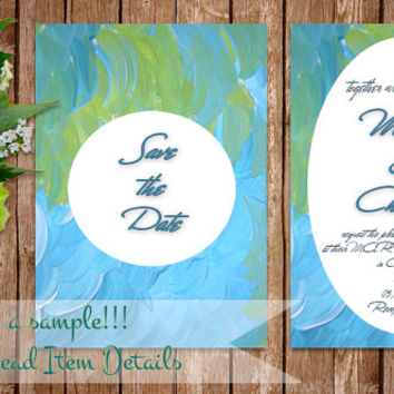 Turquoise Blue Abstract Printable Wedding invitation Instant Download