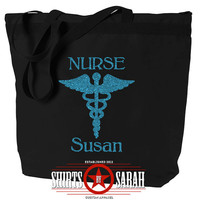 Nurse Tote Bag Caduceus Symbol - Personalized Zippered Tote For Nurses Large Totes Nurse Gift