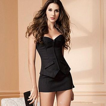 Women Office Vertical Stripes Corset Set Bodyshaper Skirt Bustier with G-string