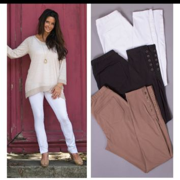 Full Length Button Detail Pant by Simply Noelle