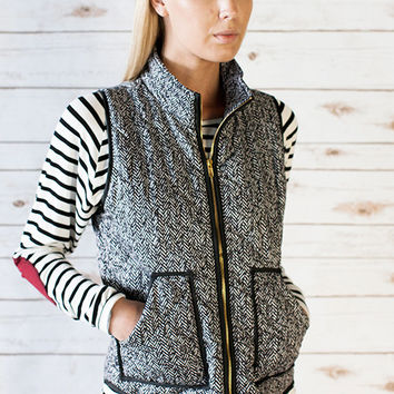 Novelty Herringbone Print Quilted Vest