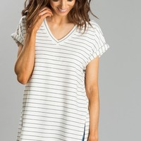 Maddie Black and White Stripe V-Neck Top