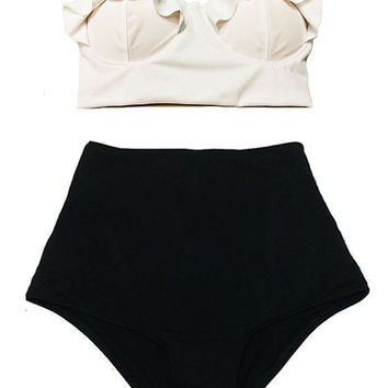 White Midkini Top and Black High Waisted Waist Vintage Retro Inspiration Swimsuit Bikini set Swimwear Beach Bathing Swim wear suit S M L