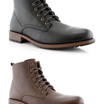 New Men's Tall Military Style Dual Lace-up Zipped Distressed Boots