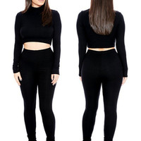 10 Color Women Suit Set New Fashion Ladies Club Wear Clothing Sexy Long Sleeve Crop Top And Pencil Pants romper Two Piece Outfit