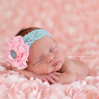 Light pink satin flower on aqua lace by DanicasChicBowtique