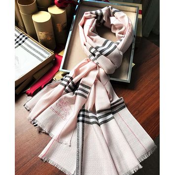 BURBERRY Woman Classic Pink Plaid Sunscreen Cape Scarf Scarves Accessories