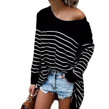 Women's Black with White Stripes Long Sleeve Irregular Hem Tunic Pullover Top