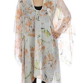 Scarf Floral Print Poncho Trimmed Sheer