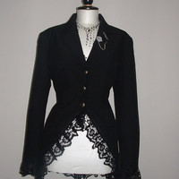 ladies long black coat  riding jacket  guns n roses goth steam punk rockabilly  corset back lace  US sizes 8-16