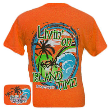 Girlie Girl Originals Livin' on island time Summer Orange Bright T Shirt