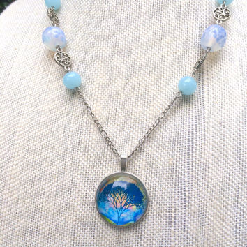 Tree of Life Necklace, Tree of Life, Tree Necklace, Nature Jewelry, Glass Beads, Silver Filigree, Blue Necklace, Blue Glass Beads, Blue Bead