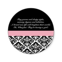 Damask Baby Shower Stickers in Black and Pink from Zazzle.com