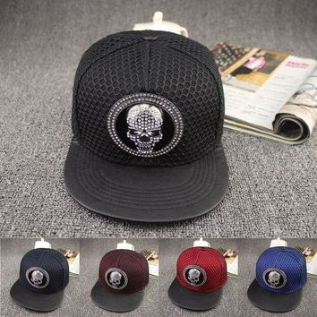 PEAPON 2016 Europe Skeletons diamond cap Summer Mesh Casual Bone Hip Hop Snapback Caps Sun Hats Baseball Cap For Men Women Teens