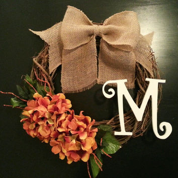Grapevine Wreath, Fall Wreath, Monogram Wreath with Hydrangea, White Inital and a Burlal Bow