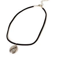 Faux Suede Locket Choker