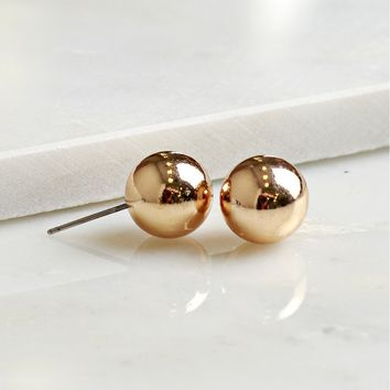 Round Stud Earrings Gold