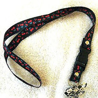 """Black with Red Cherries 15"""" lanyard-Red cherries Lanyard-New With Tags!!!"""