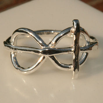 Infinity Ring,  Cross Ring ,  Faith Jewelry, Rustic Silver Ring, Size 6 Ring, Christian Ring, Sideways Cross Ring by Maggie McMane Designs