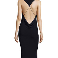 Haute Hippie Hold Me Tight Exposed-Back Midi Dress, Black