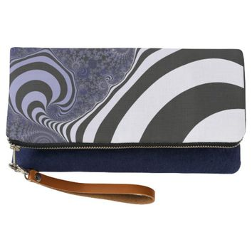 Blue and black striped fractal. clutch