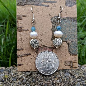 Pearl and Blue shell earrings