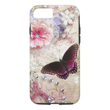Pink Butterfly iPhone 8/7 Case
