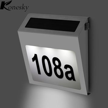 Led Solar Light Outdoor lamp garden Stainless Solar Powered 3LED Illumination Doorplate Lamp House Number Light outdoor lighting