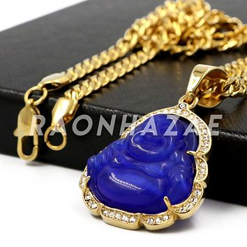 Stainless Steel Gold Iced Out Smiling Chubby Buddha (Blue Jade) Pendant w/Cuban Chain