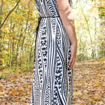Abstrat Maxi Dress - Black