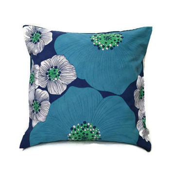 60s Fabric Cushion - Floral Pillowcase - Vintage Floral Cushion - Vintage Sheet Fabric - Decorative Throw Pillow -  Blue Accent Pillow 16x16