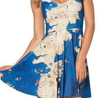 King Ma Women's Pleated Knee-length Print Pattern Reversible Skater Dress (map)