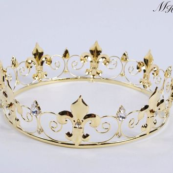 Imperial Medieval Golden Crown Round Tiara Clear Rhinestones Diadem Wedding Bridal Pageant Art Deco Party Costumes