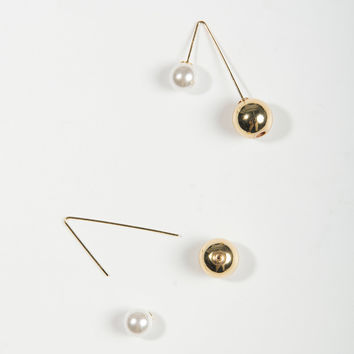 White Faux Pearl And Ball Drop Through Earrings