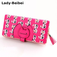 Lady Beibei cartoon women wallets bag with zipper,2017 New arrive cute cat design lady's purse and card holder.Christmas gift