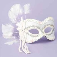 Venetian Masks Half Mask Feathers Beads, White