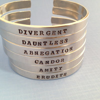 Divergent Inspired Aluminum Hand Stamped Bracelets- Choose Your Faction- Divergent Dauntless Abnegation Amity Candor Erudite