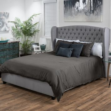 Denise Austin Home Lille Tufted Fabric Wingback Full Size Bed Set