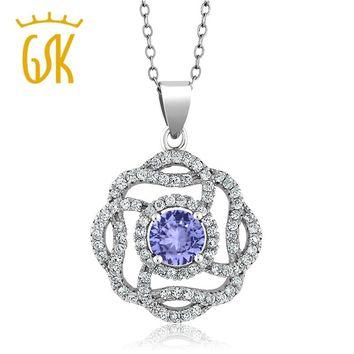 GemStoneKing Fashion party 2.52 Ct Round Natural Blue Tanzanite Pendant 925 Sterling Silver Jewelry Pendant Necklaces For Women