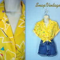 Slouchy 80s Blouse / Yellow Camp Shirt / Abstract Slouchy Top