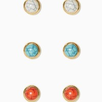 Crackled Stone Stud Set | Earrings - Tropical Escape | charming charlie