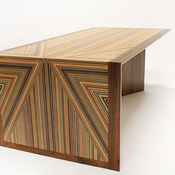 Recycled Skateboard and Walnut Geometric Coffee Table, geometric triangle wood table, living room furniture, Mid Century Modern table