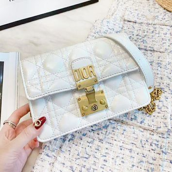 DIOR New Fashion High Quality Leather Shopping Leisure Shoulder Bag Women White