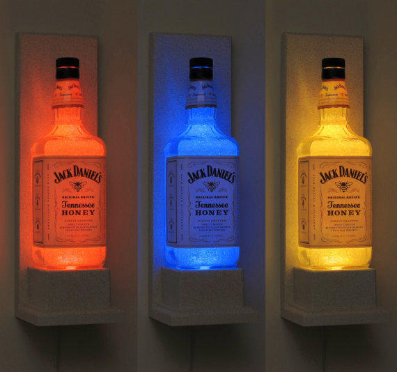 Jack daniels honey wall mount color from bodaciousbottles for How do i make a wall with colored bottles