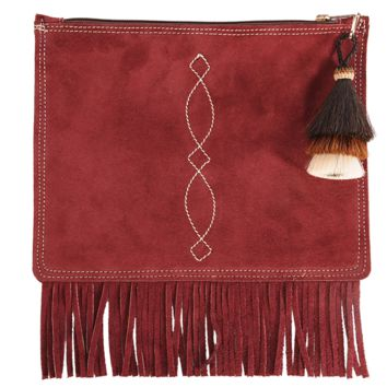 Suede Fringed Envelope with Tri-color Horsehair Tassel