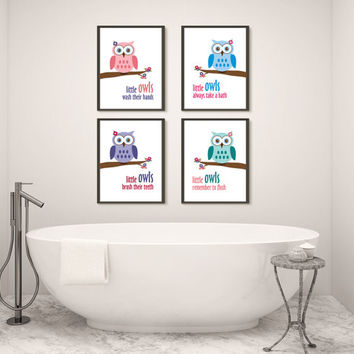 Girl Owl, Four Bathroom Prints, Printed Wall Art for Kids, Choose Size and Materials, Girl Bathroom Rules