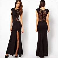 Women Formal Long Lace Prom Evening Party Cut Out SideSlit Bodycon Maxi Dress M