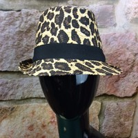 Leopard Fedora Hat with Black Band - HAT280LE